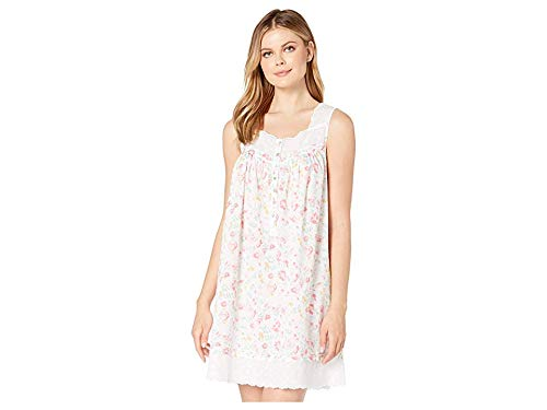 Eileen West Women's Cotton Woven Lawn Sleeveless Short Chemise White Ground Watercolor Floral X-Large