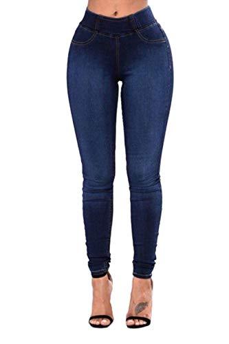 yulinge Las Mujeres Jeans Skinny Denim Pantalones Largos con Pocket Plus Size Azul