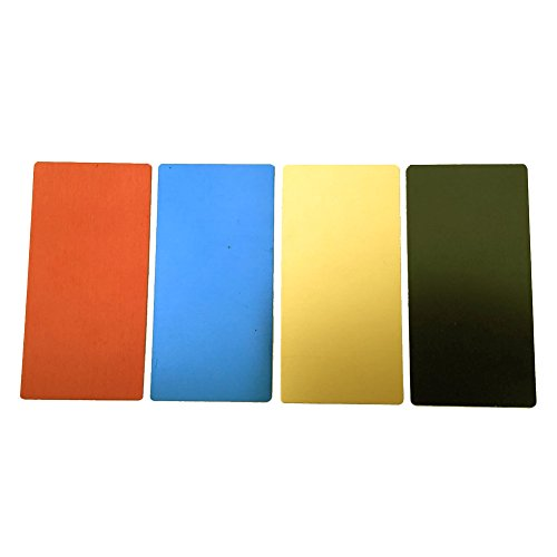 Price comparison product image ebamaz Anodized Aluminium Laser Engraved Mount Metal Plate Etching Sheets 100X50mm Round Corner with Adhesive­ (1 Color 1PCS,  Blank,  4PCS)