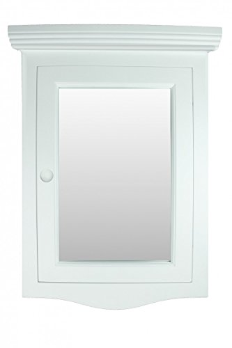 Corner Medicine Cabinet White Hardwood Wall Mount Recessed Mirror Easy Clean | Renovator's Supply by Renovator's Supply
