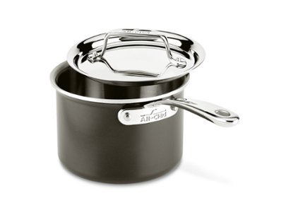 All-Clad LTD3202 Tr-ply Stainless Steel Hard Anodized Exterior Sauce Pan Cookware, 2-Quart, Black by All-Clad