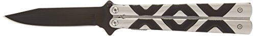 BladesUSA C-1130 Fantasy Folding Knife, Black Straight Edge Blade, Black/Silver Handle, 4-3/4-Inch Closed