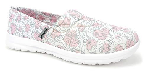 Ocean Women's Cute Lightweight Nursing Shoes - Memory Foam - Printed - Florence Ocean (10, Hosp Icons Pink Heart)