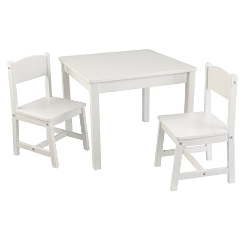 Adorable Ensemble de table et chaise pour enfant – Construction robuste – Comprend 1 table carrée et 2 chaises assorties