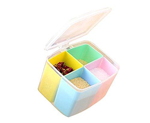 Price comparison product image kitchen Storage Jar Seasoning Box Castor Storage Bottles Set Salt Jar 4 Grid