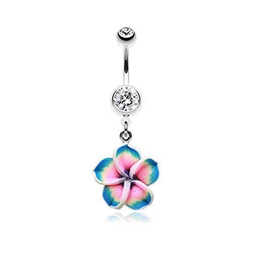 Inspiration Dezigns 14G Hawaiian Plumeria Flower Belly Button Ring (Hawaiian Plumeria Flower Ring)