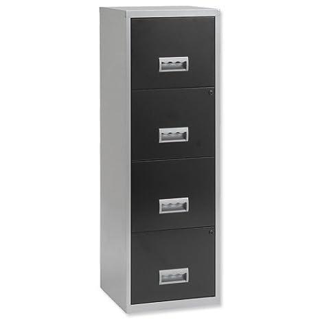Pierre Henry 095809 - Mueble archivador maxi 4 cajones aluminio, negro: Amazon.es: Oficina y papelería