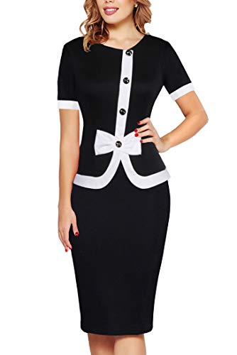 Sheath Suit - Fantaist Women's Summer Elegant Vintage Office Pencil Party Midi One-Piece Dress (L, FT636-Black)
