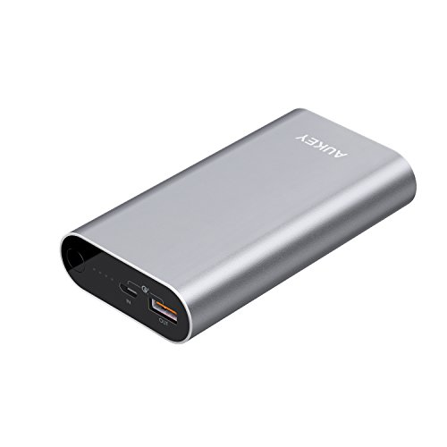 AUKEY 10050mAh Portable Charger with Qualcomm Quick Charge 3.0 Power Bank Compatible Samsung Galaxy S8 / S8+, LG G5 / G6, HTC 10 and More - Gray