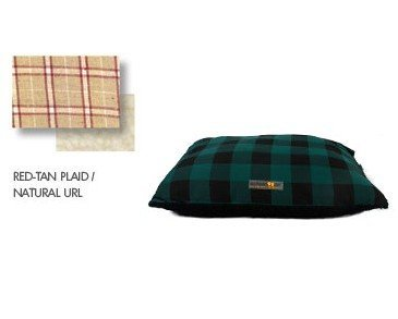AlphaPooch Softie Rectangular Dog Bed, Red and Tan Plaid Fabric with Fleece, Large, My Pet Supplies