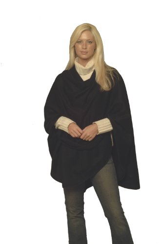 Cashmere Pashmina Group Pure Cashmere Cape with Genuine Leather Trim & Lining (Black) ()