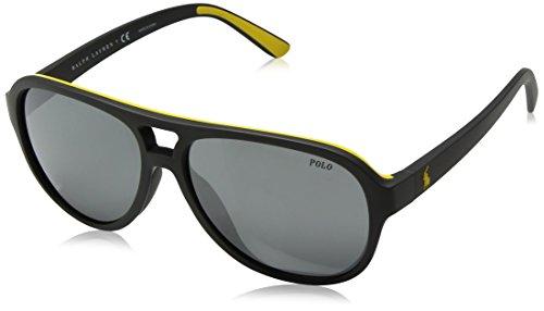 Polo Ralph Lauren Men's Injected Man Non-Polarized Iridium Aviator Sunglasses, Matte Grey Yellow Rubber, 58 - Amazon Sunglasses Tinted Yellow