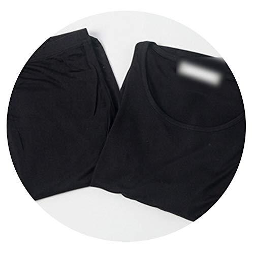 Ladies Health Sleepwear Autumn Clothes Thermal Top +Long Pants Underwear Set Shirt Leggings,Black,XL
