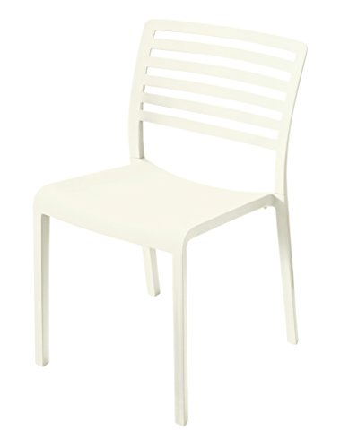Mission Stack Chair (Table in a Bag LAGCRM Plastic Modern Dining Chair, Cream (Pack of 4))