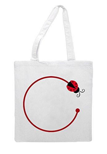 Ladybug Circle Four Tote Ladybird Shopper White Bag 8znvqxa