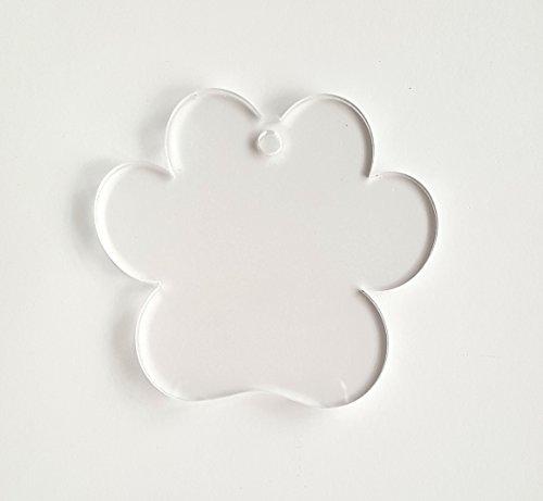 25 Acrylic Keychains PAW Print Clear Blank 1/8
