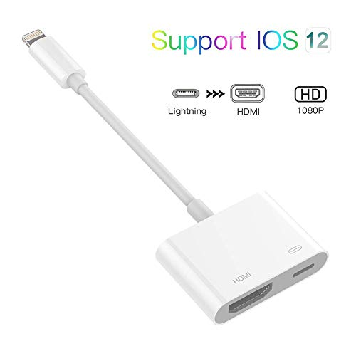 (Apple MFI Certified) Lightning to HDMI Adapter, Lightning Digital AV Adapter with iPhone Charging Port, for HD TV Monitor Projector 1080P, Compatible with iPhone Xr/Xs/Xs Max/X 8 7 6 Plus (Hdmi To Lightning Cable Iphone)