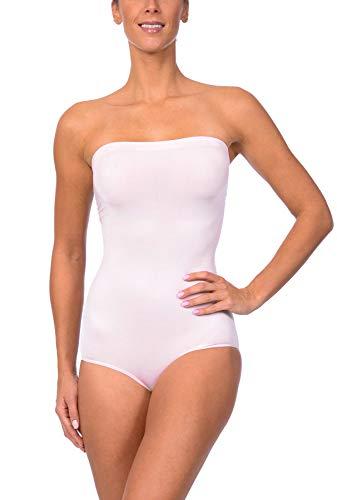 aa730bbe57e Body Beautiful Seamless Strapless Bodysuit Shaper in Shiny Yarn Pink 1X 2X