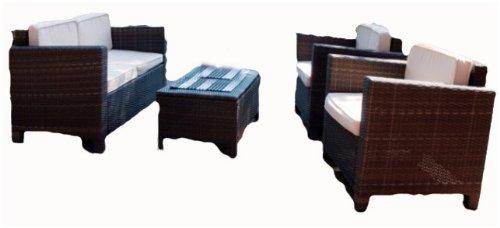 Luxus Lounge-Gruppe, Tisch + Sofa + 2 Sessel, inkl. Auflagen, Poly-Rattan mocca