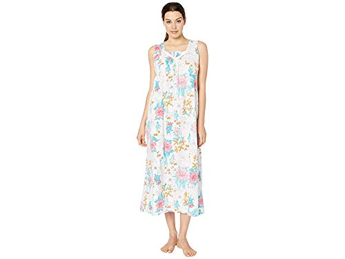 Carole Hochman Women's Sleeveless Long Gown White Multi Floral Large (Jersey Beaded Cotton)