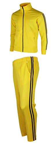 - myglory77mall Men's Running Jogging Track Suit Jacket and Pants Warm up Pants Gym Training Wear XL US(3XL Asian Tag) Yellow