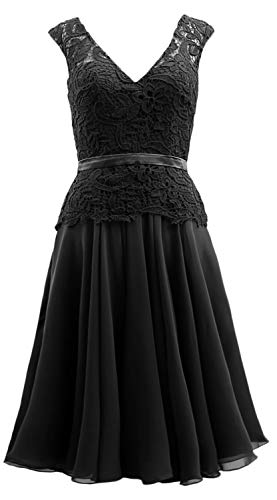 MACloth Midi of Mother The Gown Dress Bride Chiffon Formal Women Neck Black V Lace SCwxqAfSr