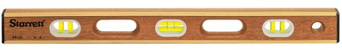 Starrett BB-24 Brass Bound Hardwood Level with 6 Glass Vials, 24