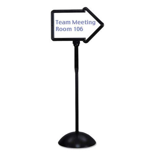 Double-Sided Arrow Sign, Dry Erase Magnetic Steel, 25 1/2 x 60, Black Frame, Sold as 1 -
