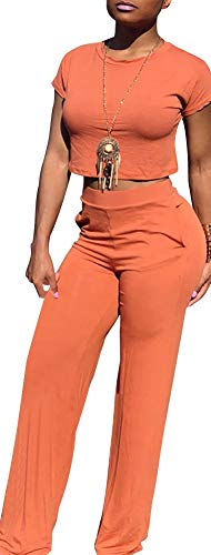 Women Solid O-Neck Short Sleeve Crop Tops High Wairst Flare Long Pants Jumpers 2 Piece Outfits]()