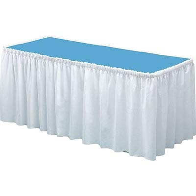 Tablemate Linen Soft 14'W x 29 Inches D Solid Table Skirt White Each -(TBL-LS2914-WH) (9 Units)