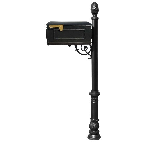 Qualarc Lewiston Cast Aluminum Post Mount Mailbox with Aluminum Mailbox, Ornate Base and Pineapple Finial, Black, Ships in 2 boxes