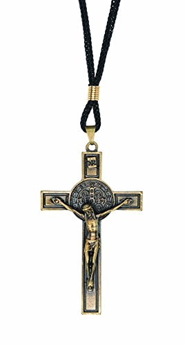 IntercessionTM St Benedict Crucifix on Cord Necklace (Antique Gold) ()