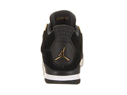 Jordan Nike Kinder Air 4 Retro BG Basketballschuh Schwarz / Metallic Gold Weiß