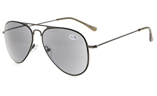 Eyekepper Sun-Readers Classical Stainless Steel Frame Pilot Style Reading Sunglasses Grey Lens - No Line Readers Sun