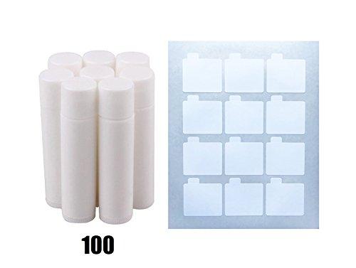 Lip Balm Stick Tubes, Cosmetic Containers Lip Balm - BPA Free Lip Balm Empty Tubes (100 white) & Premium Waterproof Lip Balm Tube DIY Sticker Labels 108 Labels (9 Sheets) ()