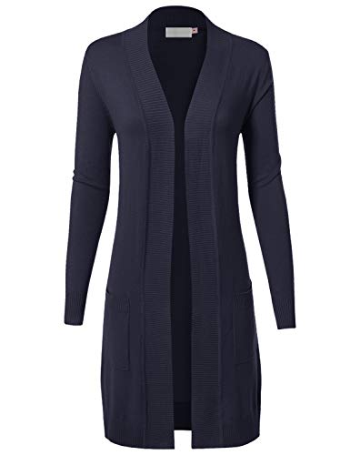 MAYSIX APPAREL Long Sleeve Long Line Knit Sweater Open Front Cardigan W/pocket For Women NAVY S