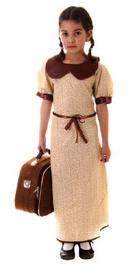 Evacuee Dressing Up Costumes (Henbrandt Girl's Evacuee War Time Costume 7 - 9 Years)