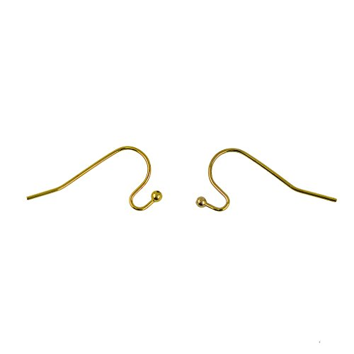 Gold Dot Clasp - MagiDeal 100xBrass French Wire Dot Ball Earring Hook Connectors Findings Silver White - Gold, 21 x 12 mm