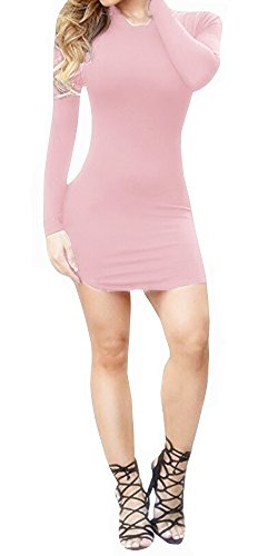 Ermonn Women's Sexy Bodycon Bandage Party Short Dress Black and White (Medium, Pink)
