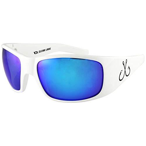 (Filthy Anglers Shawsheen Polarized Fishing Sunglasses White Frame Sun Glass for Men Women Watersports Driving Golf Baseball Running Blue Mirror Lens)