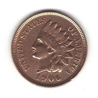 1906 centavo estadounidense de cabeza india /centavo