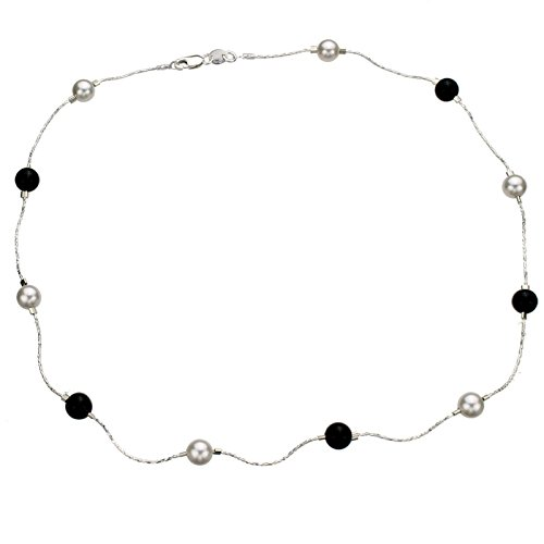 Sterling Silver Tin Cup (Sterling Silver Chain Necklace, Simulated Pearls Made with Swarovski Crystals, Onyx Stone Beads 18