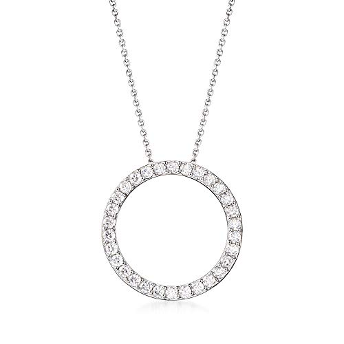 Large Open Circle Pendant - Ross-Simons 2.25 ct. t.w. CZ Open Eternity Circle Pendant Necklace in Sterling Silver