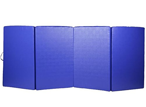 K&A Company Mat Thick Folding Panel Gymnastics Gym Fitness Exercise Tumbling New Blue Home Large Pad 4' x 10' x 2""
