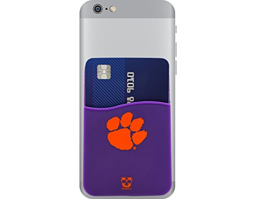 Clemson Tigers Adhesive Silicone Cell Phone Wallet/Card Holder for iPhone, Android, Samsung Galaxy, & most Smartphones Clemson Tigers Note
