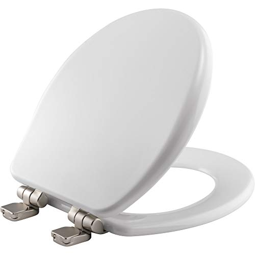 BEMIS 9170NISL 000 Alesio II Toilet Seat with Brushed Nickel Hinges will Slow Close, Never Loosen and Provide the Perfect Fit, ROUND, High Density Enameled Wood, White