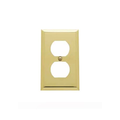 Baldwin 4752.030.CD Classic Square Beveled Edge Duplex Switch Plate, Polished Brass - - Square Outlets