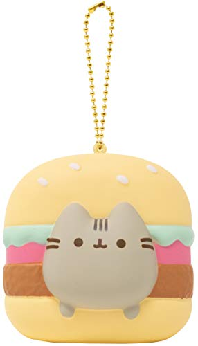 Slow Rising [Squishy Collection] Pusheen Short Hair Cat [Hamburger] Square Series Ball Chain Adorable Soft Stress Relief Toy for Kids and Adults, Yellow with Brown, Mint Green & Red