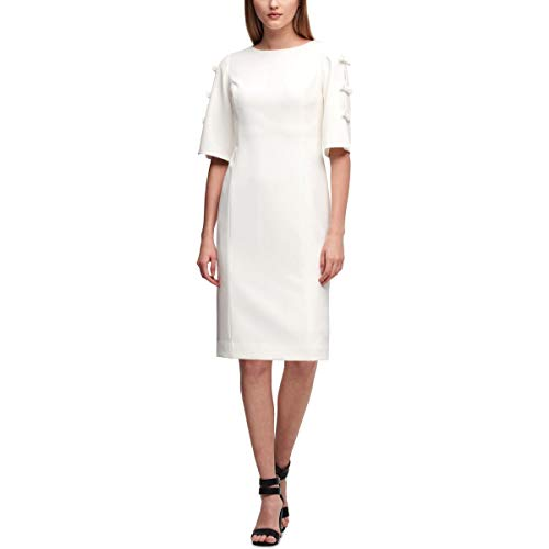 (DKNY Womens Bow-Sleeve Boatneck Shift Dress White 8)