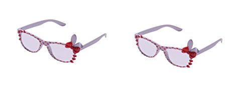 UltraByEasyPeasyStore 2 Pairs of Cute 3D Multi Color clear lens Bunny Heart Bow Frames for costumes parties Glasses gift nerds & hipsters Blue Pink Black Yellow White (2 White Pairs) ()